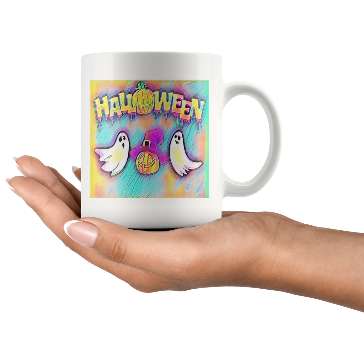White 11oz Multicolor Halloween Ghost Coffee Tea Mug