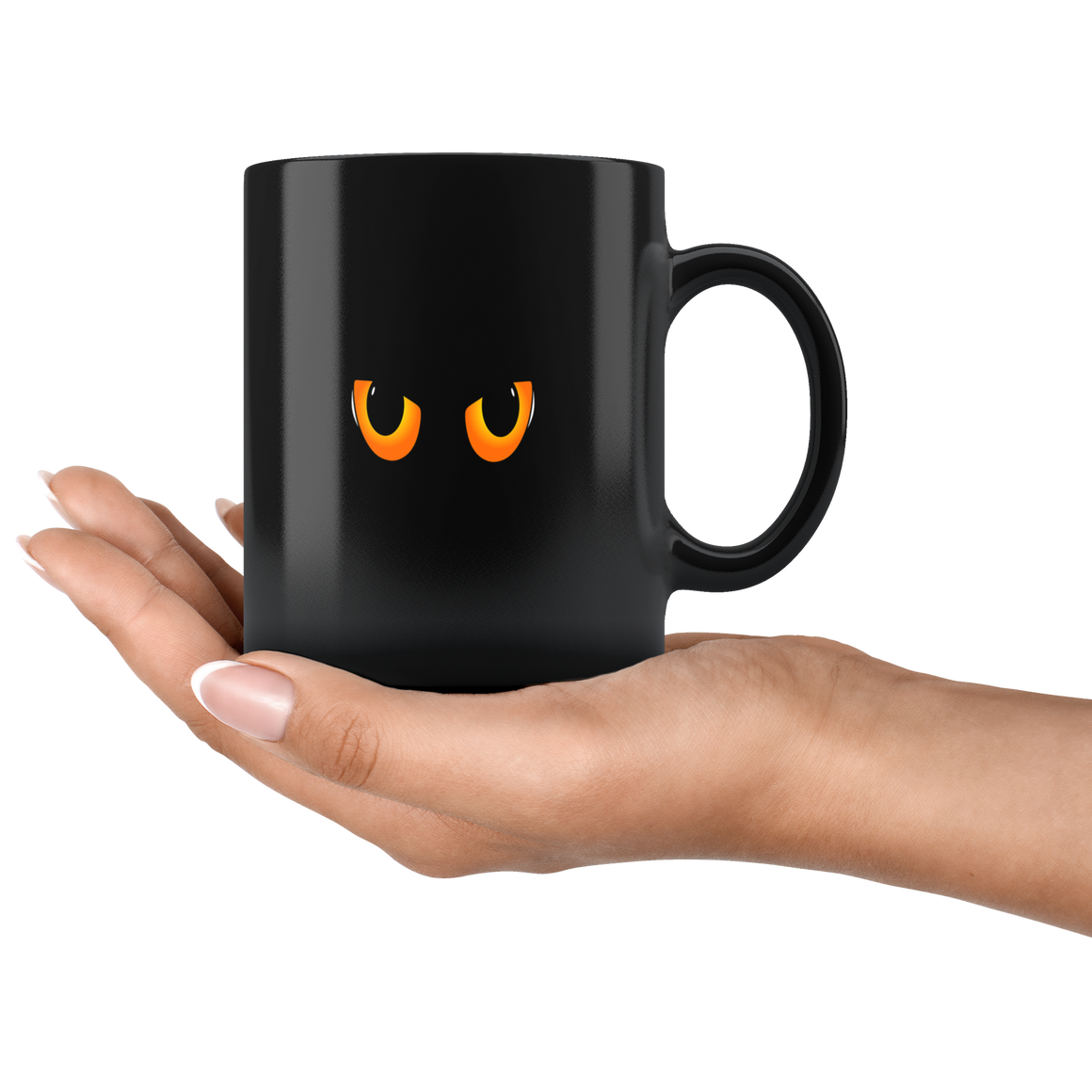 Cute Black Cat Eyed Halloween Coffee or Tea Mug