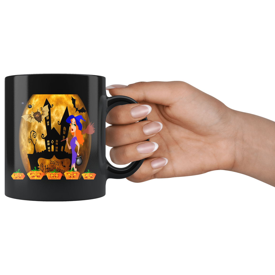 Black Chic 11oz Happy Halloween Witch Coffee Tea Mug
