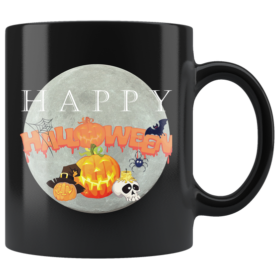 Cute Black Happy Halloween 11oz Coffee Tea Cup
