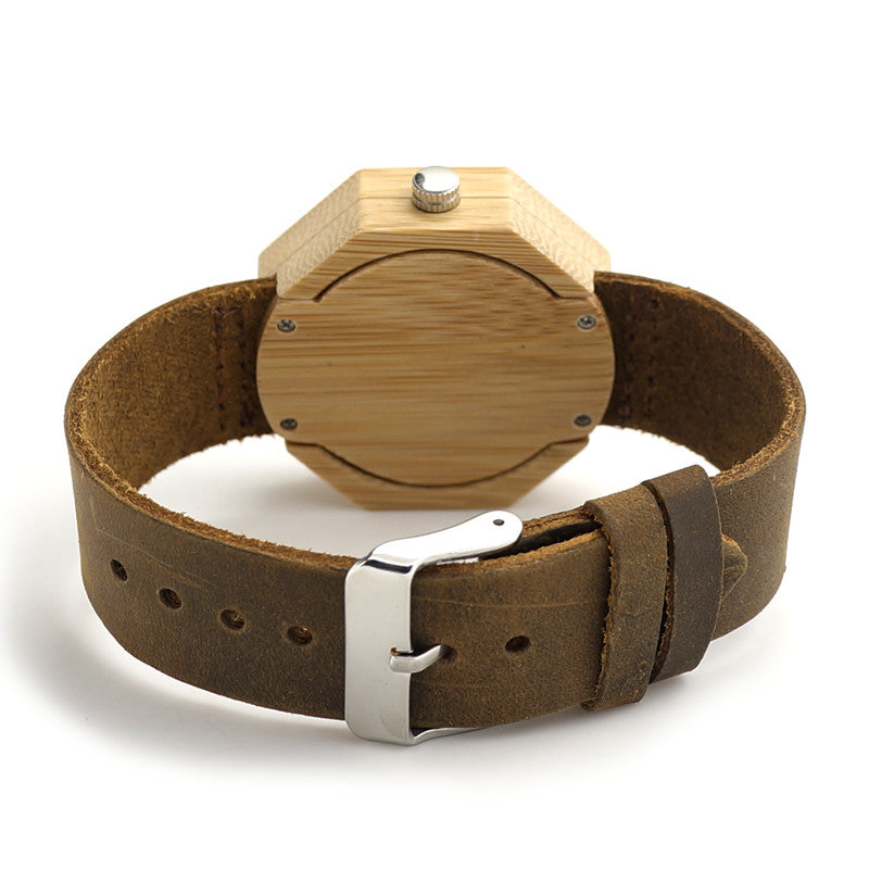 My Fabulous Style Bamboo Octagonal Style Wrist Watch with Leather Strap