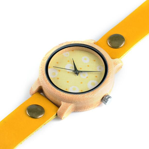 My Fabulous Style Wooden Bamboo Quartz Extra Long Leather Strap