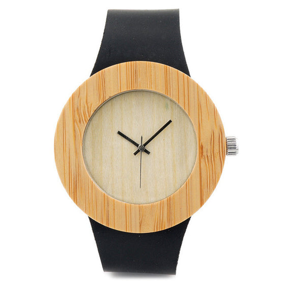 My Fabulous Style Wooden Gold Retro Watch With Black Leather Starps