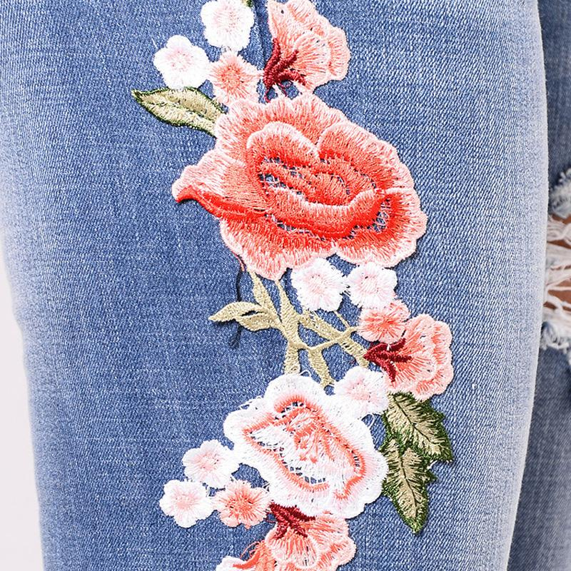 MY FABULOUS STYLE SKINNY JEANS FLOWER PATTERN RIPPED STRETCH FABRIC