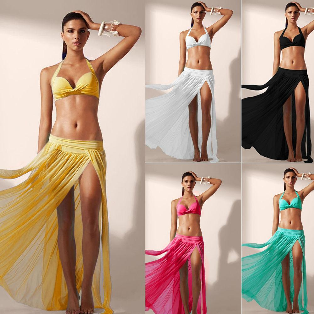 MY FABULOUS STYLE CHIFFON SARONG SEXY WRAP MESH ALINE SKIRT COVER UP WITH SLITS