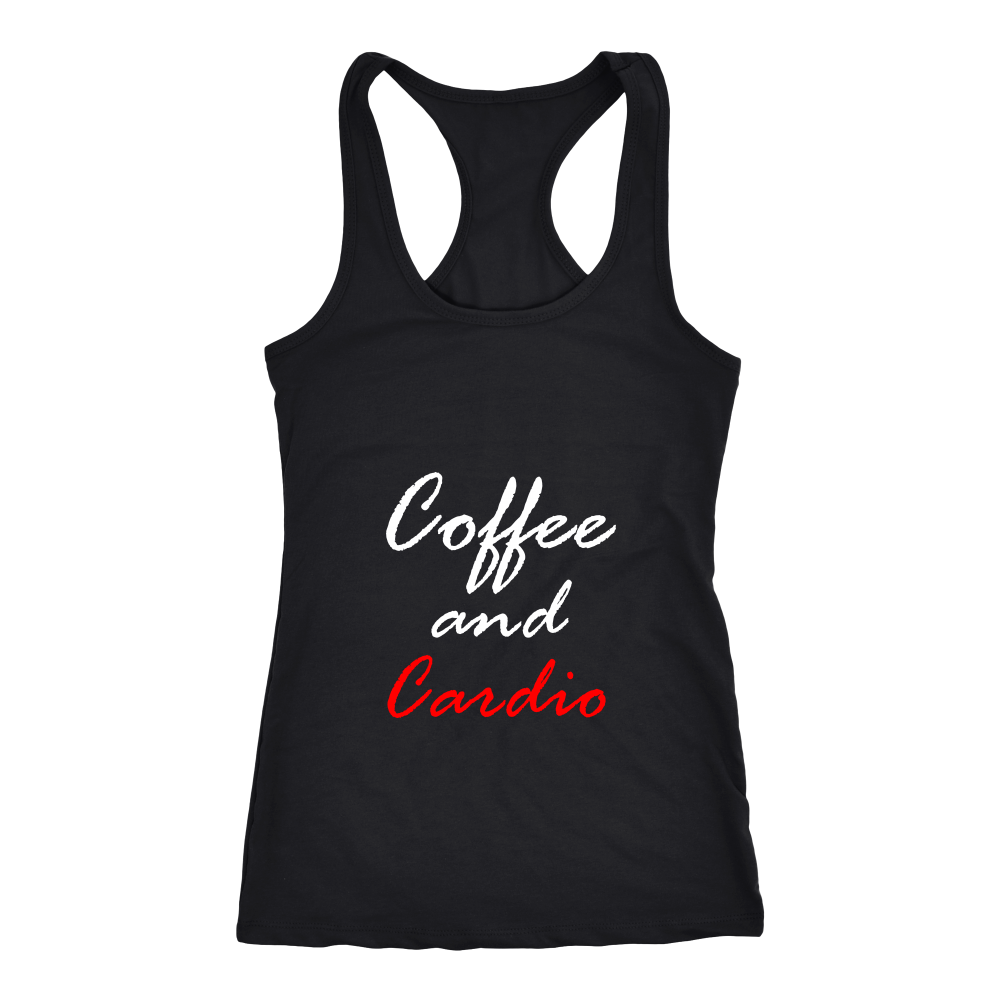 Womens Workout Tanks With Sayings-Coffee and Cardio--Womens Workout Tank Black - My Fabulous Style