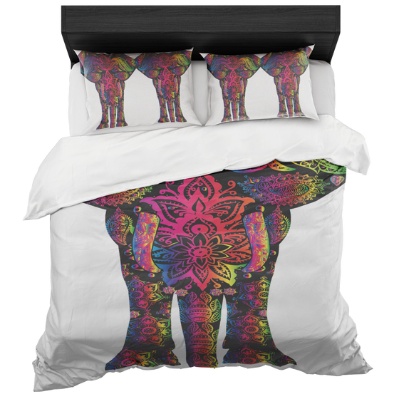Chic Colorful Elephant Motif Duvet Set