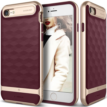 iPhone 7 caseology case in cherry gold front and back view