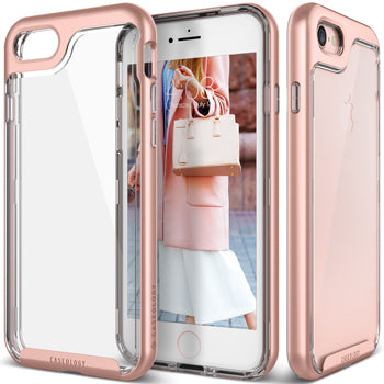 iPhone 7 Caseology case Skyfall series in clear and rose gold trim front and back view