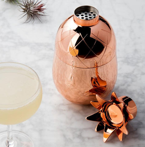 Pineapple Rose Gold Cocktail Shaker