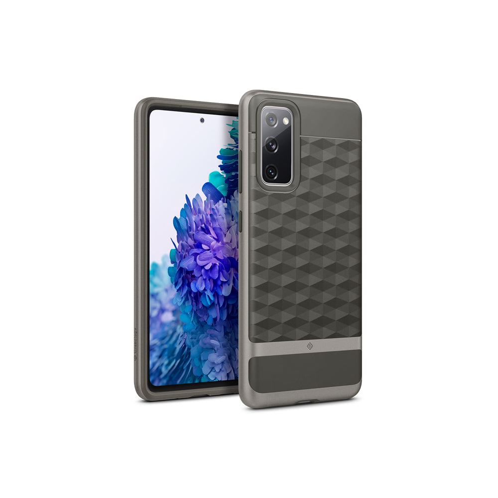 Caseology Parallax Designed for Samsung Galaxy S20 FE Case Shockproof Protective Geometric 3D Pattern Stylish Cover Phone Case for Samsung Galaxy S20 FE Ash Gray