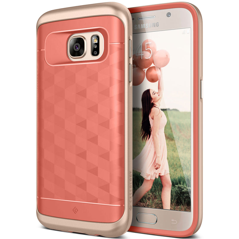 Caseology Galaxy S7 Parallax Series Pink/Gold case front and back view