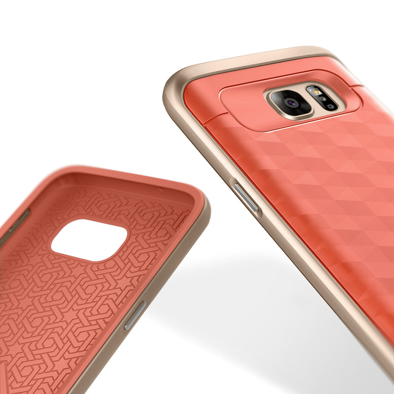 Caseology Galaxy S7 Parallax Series Pink/Gold case inside and back view