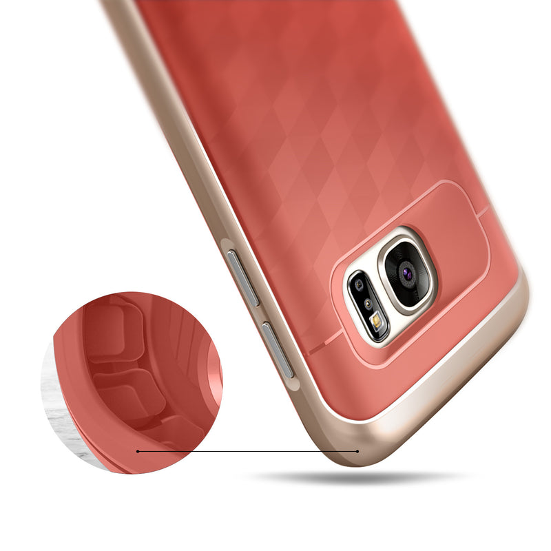 Caseology Galaxy S7 Parallax Series Pink/Gold case air cushion drop protection view