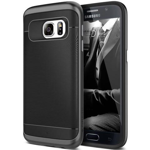 Caseology Galaxy S7 Wavelength Series Black case front and back view