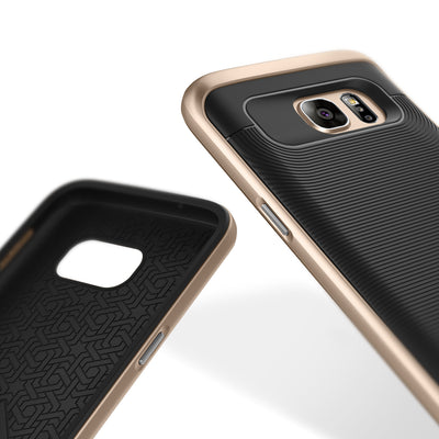 Caseology Galaxy S7 Wavelength Series Black/Gold case front and back view