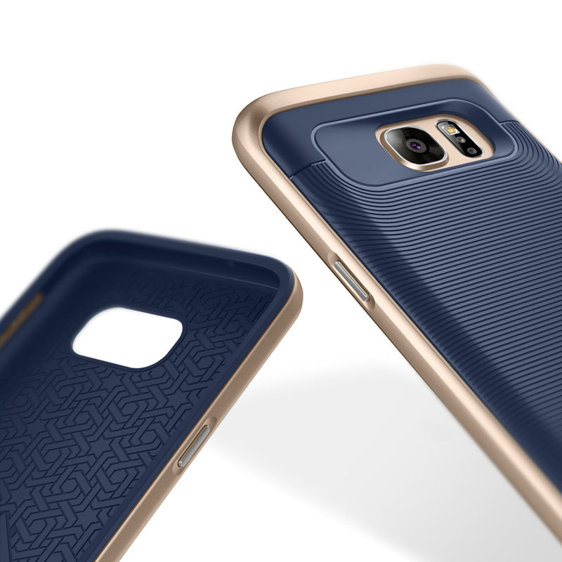 Caseology Galaxy S7 Wavelength Series Navy/Gold case inside and back view