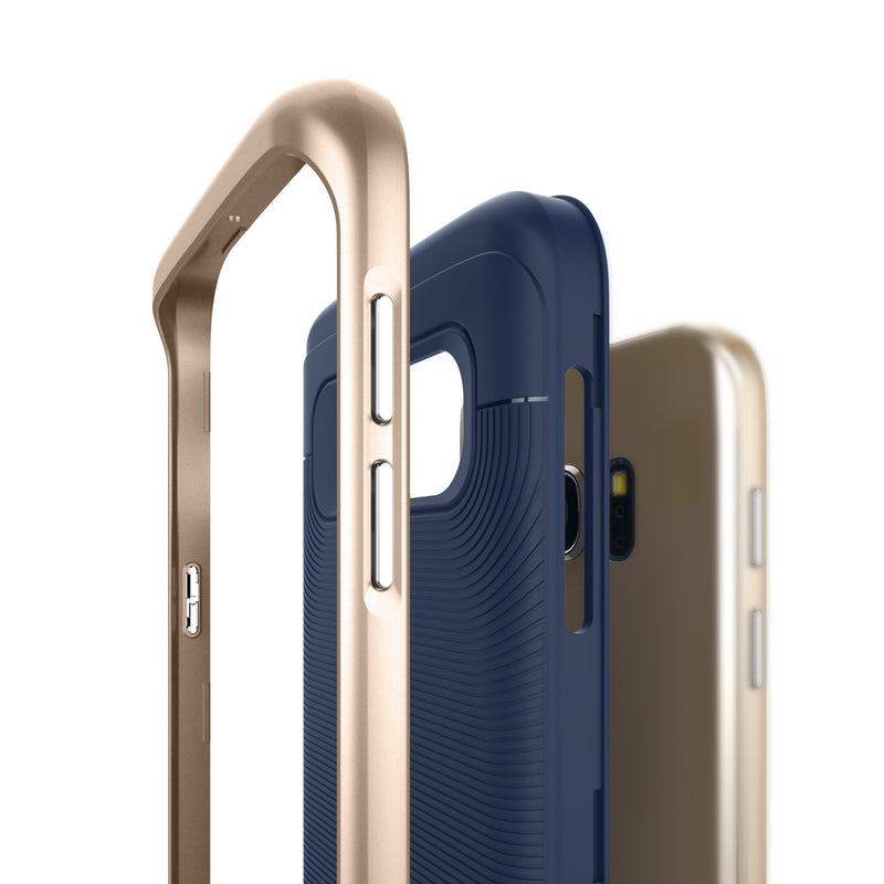 Caseology Galaxy S7 Wavelength Series Navy/Gold case frame layers side view