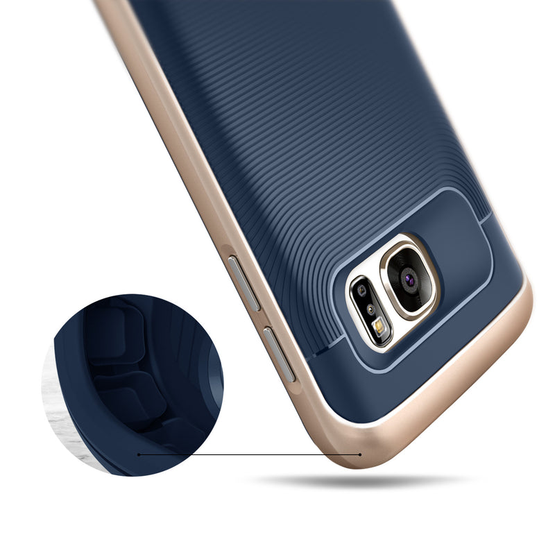 Caseology Galaxy S7 Wavelength Series Navy/Gold case air cushion drop protection view
