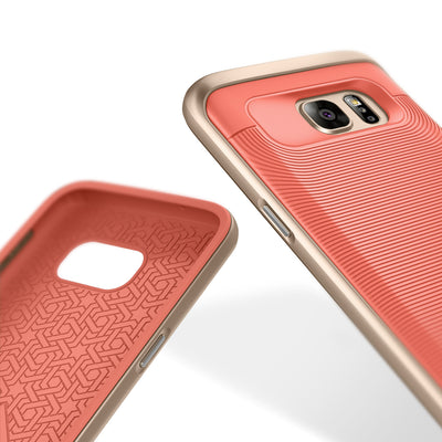 Caseology Galaxy S7 Wavelength Series Pink/Gold case front and back view