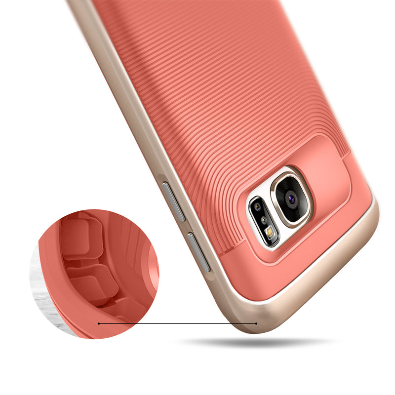 Caseology Galaxy S7 Wavelength Series Pink/Gold case air cushion drop protection view