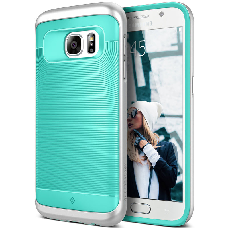 Caseology Galaxy S7 Wavelength Series Turquoise Mint/Silver case front and back view