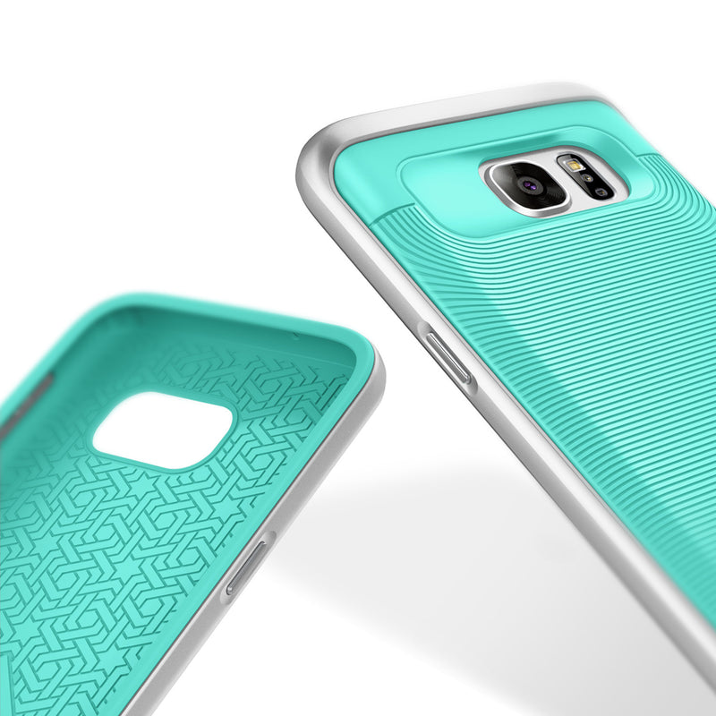 Caseology Galaxy S7 Wavelength Series Turquoise Mint/Silver case inside and back view