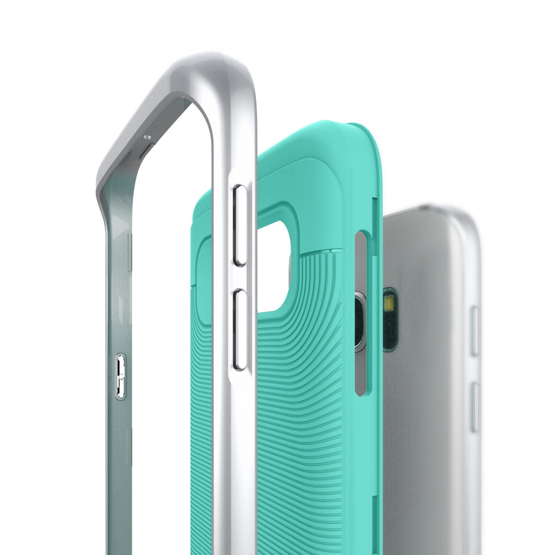 Caseology Galaxy S7 Wavelength Series Turquoise Mint/Silver case frame layers side view