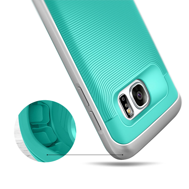 Caseology Galaxy S7 Wavelength Series Turquoise Mint/Silver case air cushion drop protection view