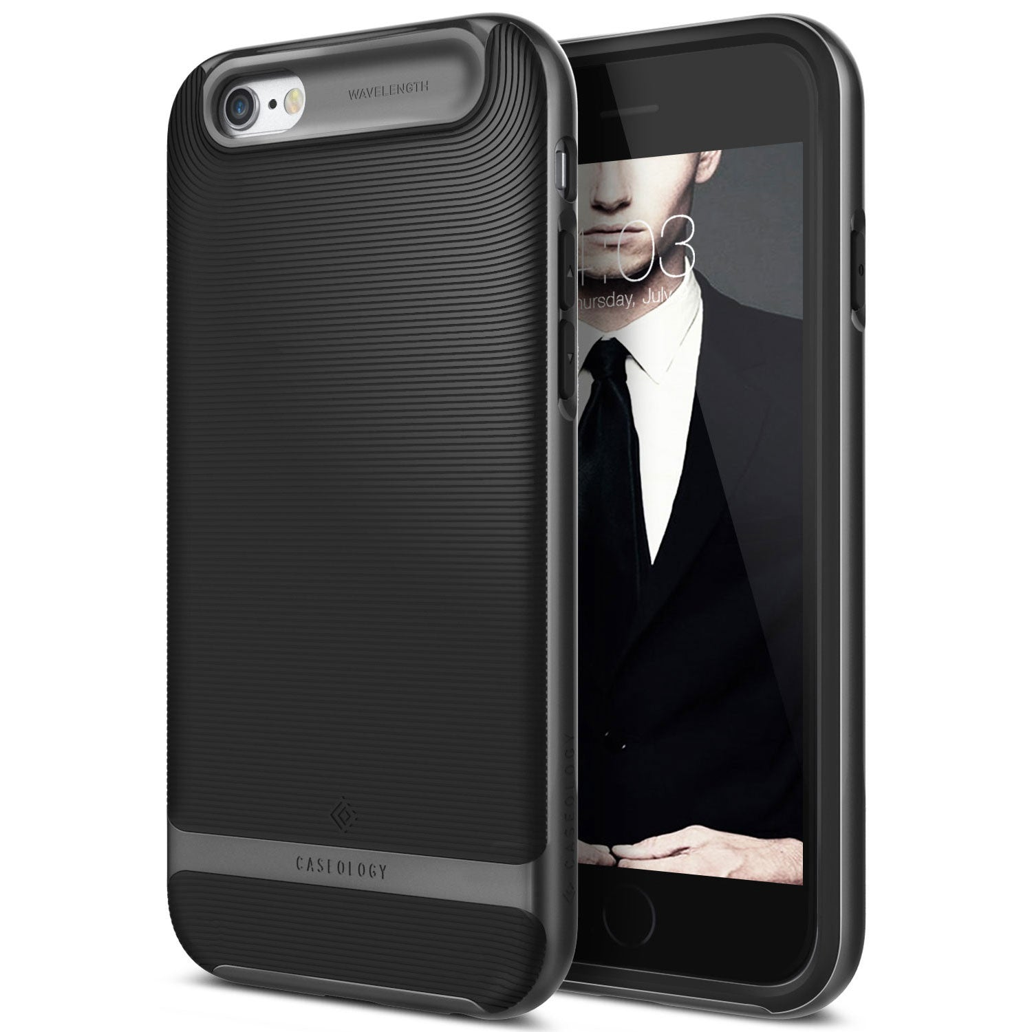Caseology iPhone 6S Plus Case Wavelength black - Front/Back