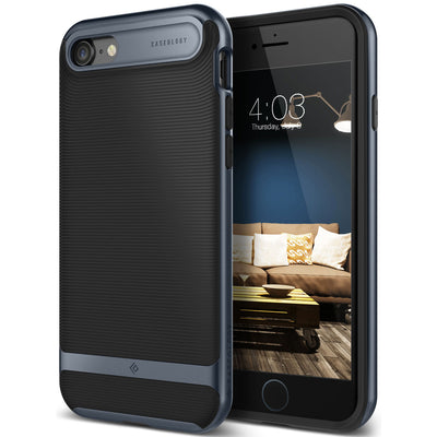 Caseology iPhone 7 Wavelength Series Black Deep Blue case front back view