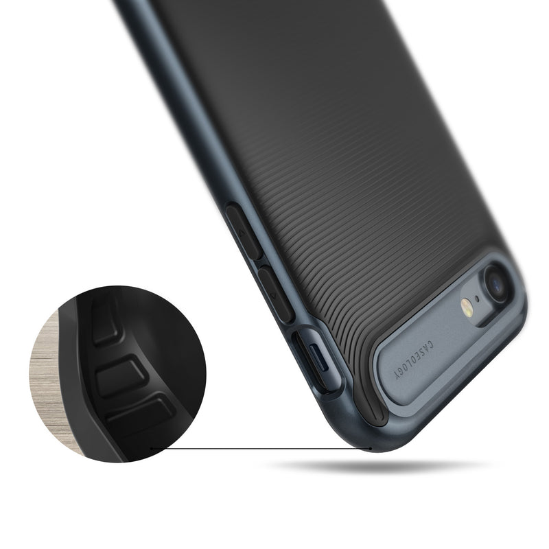 Caseology iPhone 7 Wavelength Series Black Deep Blue case air cushion drop protection view