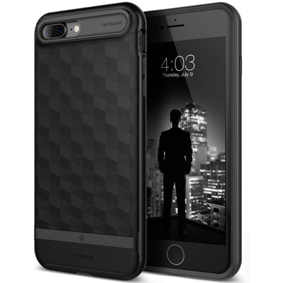 Caseology iPhone 7 Plus Envoy Series Matte Black case front back view