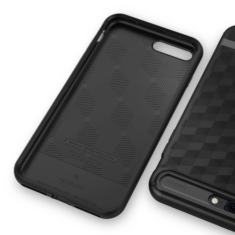 Caseology iPhone 7 Plus Envoy Series Matte Black case inside front back view