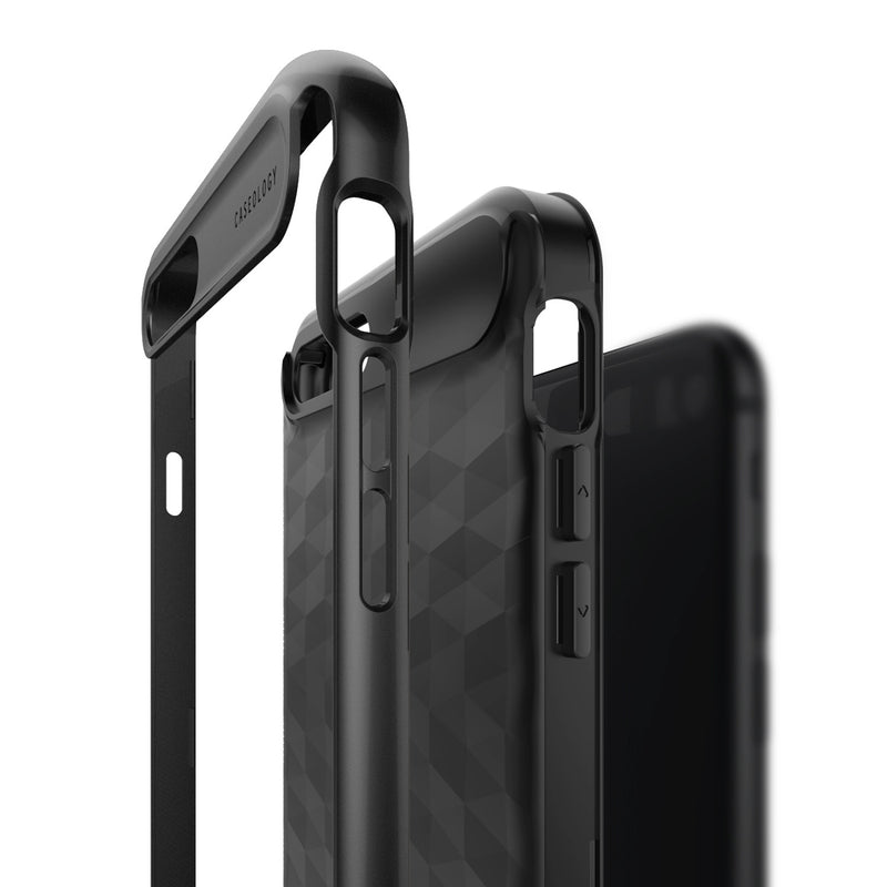 Caseology iPhone 7 Plus Envoy Series Matte Black case frame layers side view