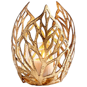 Gold Leaf Sunrise Flame Votive Candle Holder