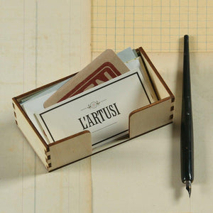 HomArt Business Place Card Holder - Natural Wood - Set of 12