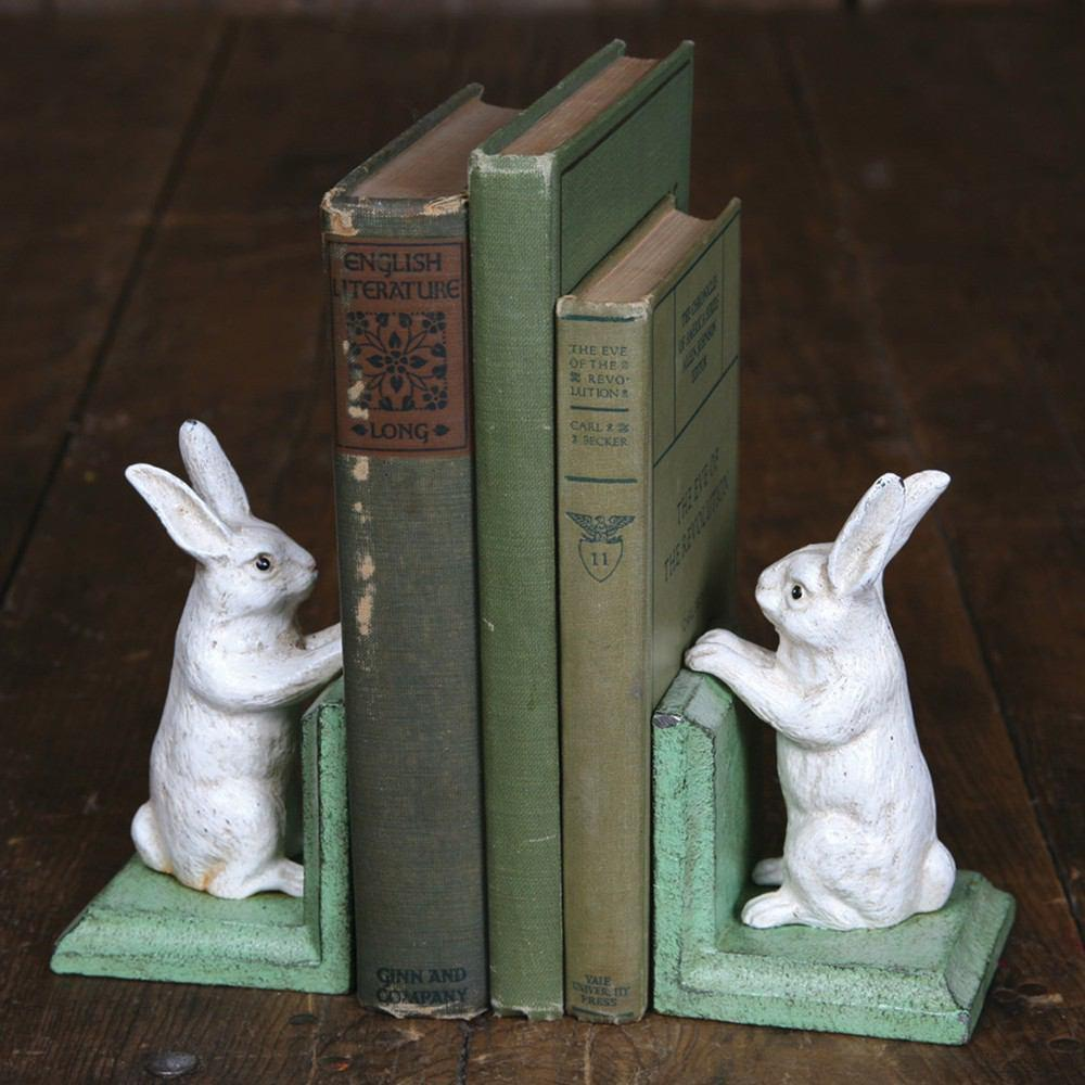 HomArt Bunny Bookends - Cast Iron - White