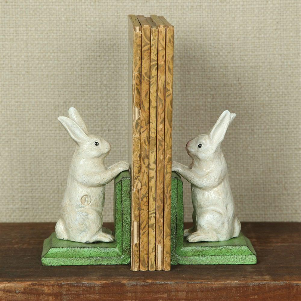 HomArt Bunny Bookends - Cast Iron - White - Feature Image