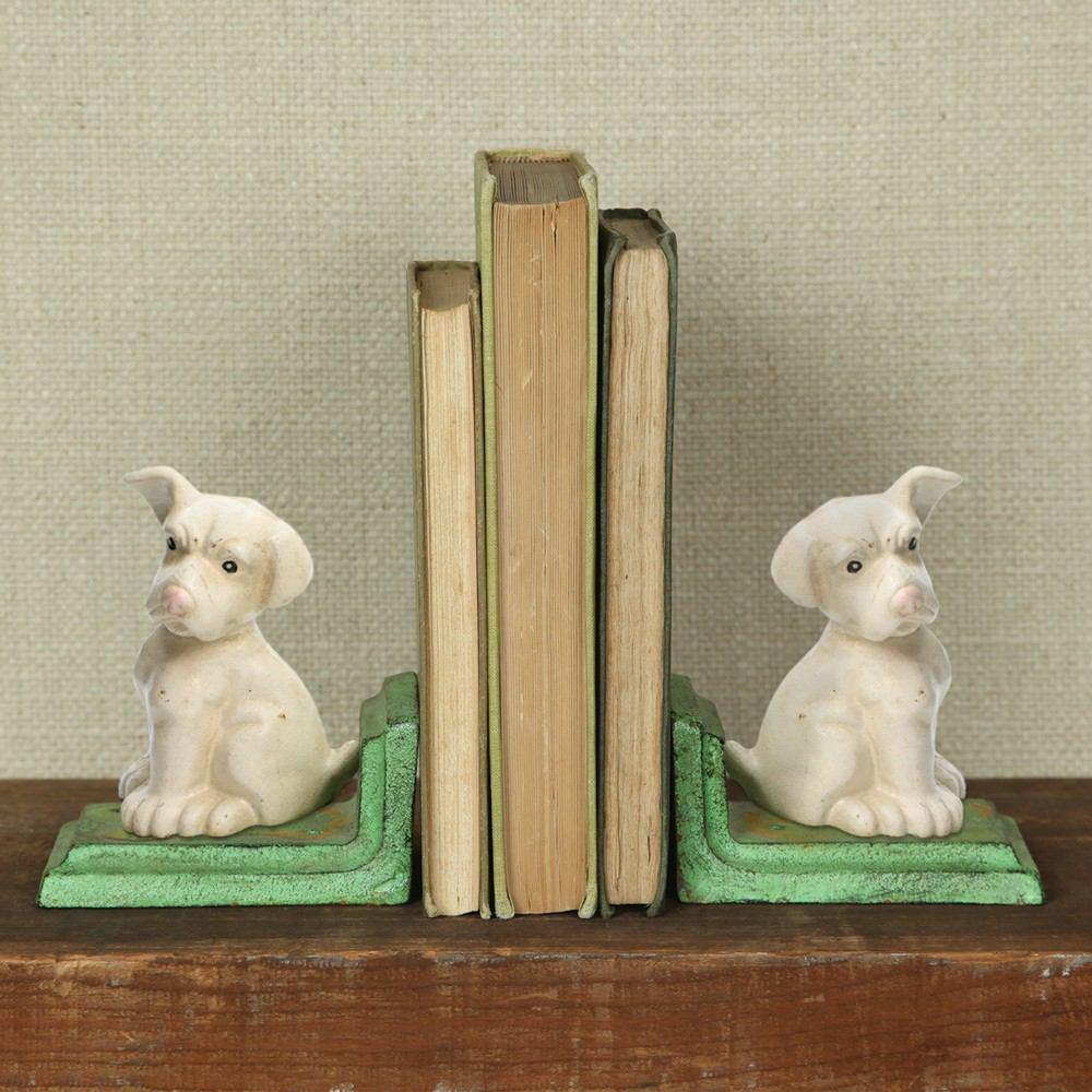 HomArt White Puppy Bookends - Cast Iron - White - Feature Image