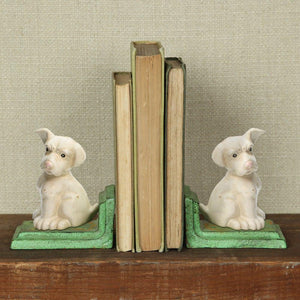 HomArt White Puppy Bookends - Cast Iron - White