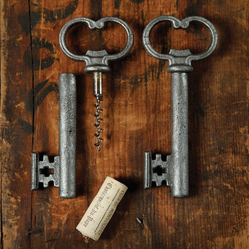 HomArt Skeleton Key Bottle Opener & Cork Pull - Antique Silver - Set of 6 - Feature Image