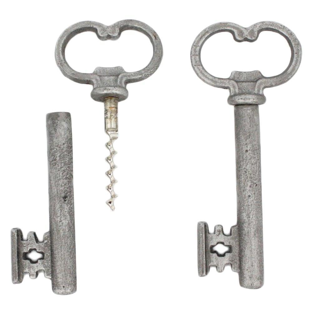 HomArt Skeleton Key Bottle Opener & Cork Pull - Antique Silver - Set of 6