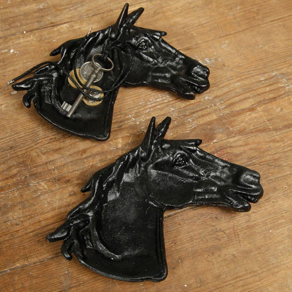 HomArt Horse Head Tray - Cast Iron - Antique Black - Set of 6 - Feature Image