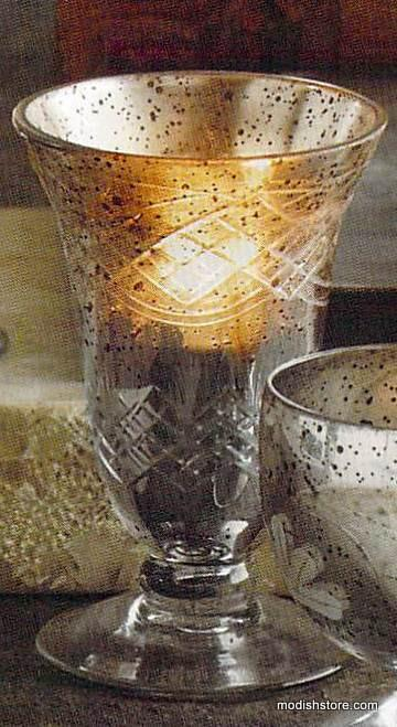 Roost Antiqued Mercury Glass Chalice Tealight Holders - Set Of 6