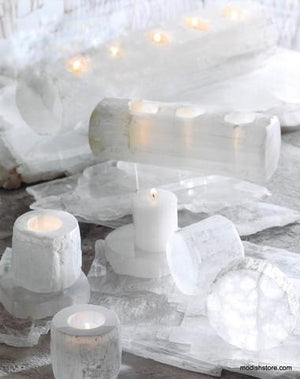 Roost Natural Crystal Selenite Tealight Holders & Logs