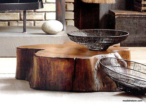 Roost Acacia Slice Coffee Table & Stump Stool