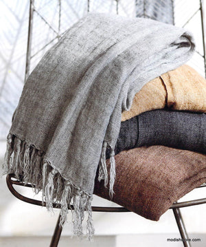 Roost Handloom Washed Fringed Linen Throws