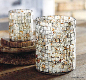 Roost Morocccan Mosaic Glass Hurricane & Votive Holder
