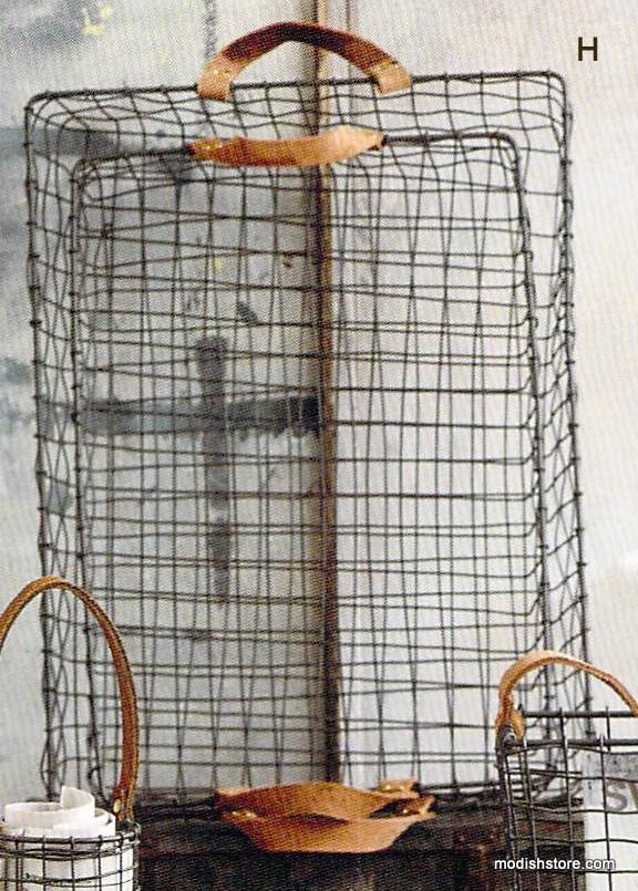 Roost Leather-Handled Wire Baskets